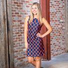 Seaside Dress Bold Trellis Blue Orange   BOLD TRELLIS BLUE ORANGE / XL