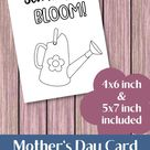 You Help Me Bloom Mother's Day Card for Kids to Color