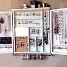 Jewelry cabinet. Large earrings case jewelry storage. wall mounted earring organizer. earrings storage