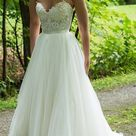 A line Sweetheart Ivory Wedding Dresses With Lace Applique WD392