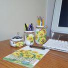 Sunflowers Office Desk Decor Set, Desk Organizer, Office Organizer, Office Accessories,Desk Accessories, Office Supplies,Decoupage Mason Jar