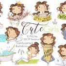 Cute Girls Clipart, Girls Activities Clipart, Planner Sticker Graphics, Girls Set, Hand Painted Clipart, Emoji Girls Clipart, Girl Sticker