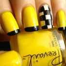 Yellow Nails with Black Design