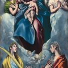El Greco, 1599 - Madonna and Child with Saint Martina and Saint Agnes - fine art print - Canvas print / 50x90cm - 20x35