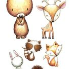Nursery Woodland Animals Print Watercolor set of 4 fox   Etsy