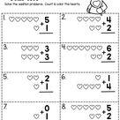 VALENTINE MATH - Kindergarten and first grade math addition - free worksheets