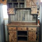 Step back cabinet , primitive furniture / rustic farmhouse furniture / kitchen cabinet hutch buffet / country furniture