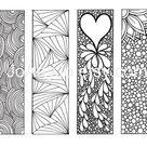 Zendoodle Mindfulness Bookmarks, Inspired by the art of Zentangle, Printable Coloring Sheet 2