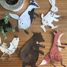 Set of 5 Articulated Paper Doll Animals Digital Download Kid Craft