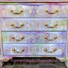 Sold, Example of Boho Furniture,Vintage End Table, Hand Painted Nightstand,Accent table, Pink and Purple, Grey and Gold, SOLD SOLD SOLD
