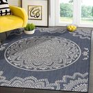 Modern Area Rugs for Indoor Outdoor Medallion - Blue / White - 8x10