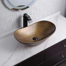 Gold Ceramic Vessel Bathroom Wash Sink Boat Shaped