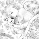 Sleepy Puppy   Printable Adult Coloring Page from Favoreads Coloring book pages for adults and kids Coloring sheets Coloring designs