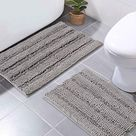 NICETOWN Bath Mats for Shower Room (Pack 2-20 x 32/17 x 24) - 32 x 20 Plus 17 x 24 / Light Grey