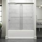 Delta Lyndall 60 In. X 59-1/4 In. Mod Semi-Frameless Sliding Bathtub Door In Bronze & 3/8 In. (10Mm) Clear Glass in Gray, Size 58.1103 H in | Wayfair