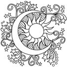 Pop Art Sun, Moon, and Stars coloring page | Free Printable Coloring Pages