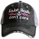 Lake Hair Don't Care Trucker Hat - Gray/Hot Pink