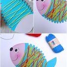 Fische mit Wolle umwickeln