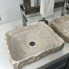 2 Travertine Stone Sinks   Modern Natural Stone Bathroom Vessel Sinks   Bathroom Sinks   Vanity Sink