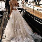💐 Floral Applique Beach Wedding Dresses Backless Boho Wedding Gown,MW408