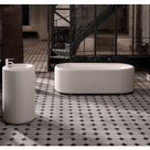 Bette Lux Oval Couture 1800 X 800mm Double Ended Fabric Freestanding White Steel Bath No Tap Hole