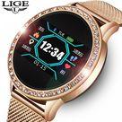 LIGE Ladies Smart Watch Women Blood Pressure Heart Rate Monitor Fitness tracker Sport Smart Band ...