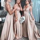 Beauty A Line Champagne Split Satin Bridesmaid Dress,Long Prom Dress