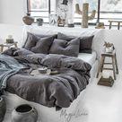 Linen bedding set in Charcoal Gray (Dark Gray) color. King, Queen linen duvet cover + 2 pillowcases.