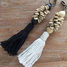 OKA Keychain with Cotton Yarn Tassels Cowrie Shells & Wooden   Etsy