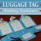 Custom Luggage tag Invitations for a destination wedding, tropical wedding or wedding abroad