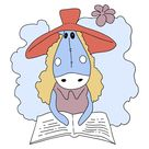Einfache Ausmalbild ein Pferd mit Buch