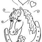 Kostenlose Malvorlage Pferde: Pferd und Hufeisen zum Ausmalen