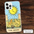 Tarot MOON card phone case with dogs barking, in yellow on blue, for new age fans, astrology fans, fortune tellers