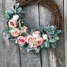 Best Selling Wreath! Spring Wreaths for Front Door, Mothers Day Gift, Peony Wreath, Spring Wreath, Baby Girl Wreath, Spring Door Wreath