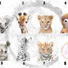 BABY SAFARI ANIMAL PORTRAIT PRINTS - A4 PRINT MOUNTED A3 FRAMES / 3