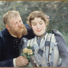 Alfred Philippe Roll, 1890 - Portrait of Thaulow and his wife - fine art print - Canvas print / 60x50cm - 24x20