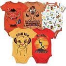 Disney 5 Pack Short Sleeve Bodysuit: Mickey Mouse Lion King Pixar & Winnie the Pooh - Lion King / 12 Months