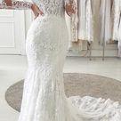 Mermaid Long Sleeves Vintage Elegant Long Wedding Dresses WD028