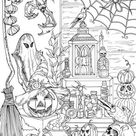 Halloween Stuff  Printable Adult Coloring Page from Favoreads | Etsy