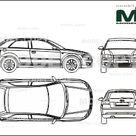 Audi A3 2002 in 3 door execution   2D drawing blueprints   25490   Model COPY   English