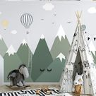 Cartoon Green Triangle Mountains Nursery Wallpaper, Flying Birds and Animals Kids' Room Babies' Room Children' Room Wall Murals