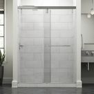 Simplicity 60 In. X 71-1/2 In. Mod Semi-Frameless Sliding Shower Door In Bronze And 3/8 In. (10Mm) Clear Glass