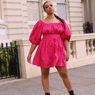 Vibrant Puff-sleeved Pink Poplin Dress
