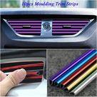 10Pcs 20cm Universal Car Air Conditioner Outlet Decorative U Shape Moulding Trim Strips Decor Car Styling Accessories - Blue