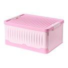 Große Zusammenklappbare Aufbewahrungsbox Organizer für Home Office Badezimmer Kleidung Bücher Rosa Aufbewahrungskiste 47 x 34 x 22 cm