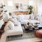 Boho living room decor with white sectional