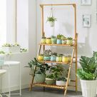 3 Ebenen Pflanzenregal mit hhverstellbarer Hngestange Klappbar Blumenstnder Wood Mit Aufhängestang 70cm