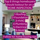 Top 6 things homebuyers should lookout for on a  HOME INSPECTION.   #homebuying #newhomechecklist