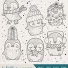 Cute Hand Drawn Penguin Clip Art, Cute Penguin Clipart, Holiday Penguin Clip Art, Holiday Digital Stamps, Christmas Clipart