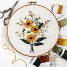Wildflower Bouquet Modern Embroidery Kit, DIY embroidery, DIY home decor, hand embroidery kit, flower embroidery, floral embroidery pattern
